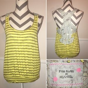 FREE PEOPLE | yellow stripes and lace back tank
